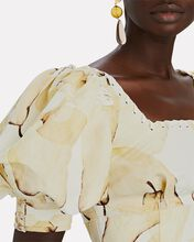Unlace Puff Sleeve Crop Top, PALE YELLOW/IVORY, hi-res