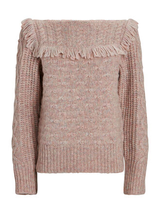 Kingston Fringed Crewneck Sweater, PALE MAUVE, hi-res