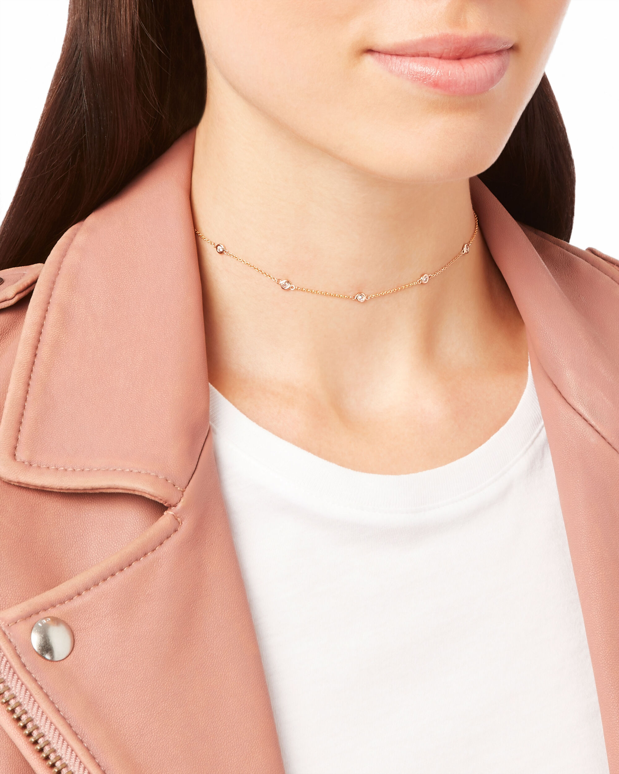 5 Diamond Spaced Out Choker, METALLIC, hi-res