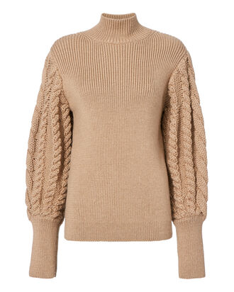 Cable Knit Sleeve Sweater, BEIGE, hi-res