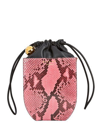 Coffer Snake-Embossed Drawstring Bucket Bag, PINK/BROWN, hi-res
