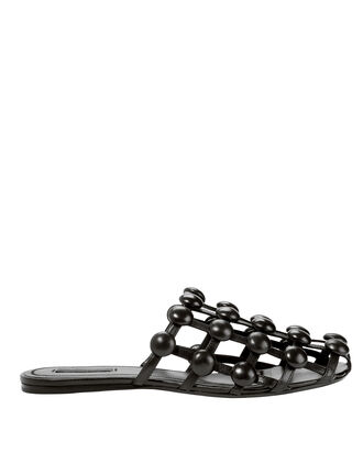 Amelia Leather Stud Slippers, BLACK, hi-res