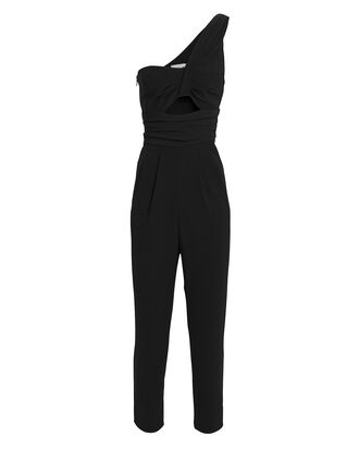 Athena One-Shoulder Jersey Jumpsuit, NAVY, hi-res