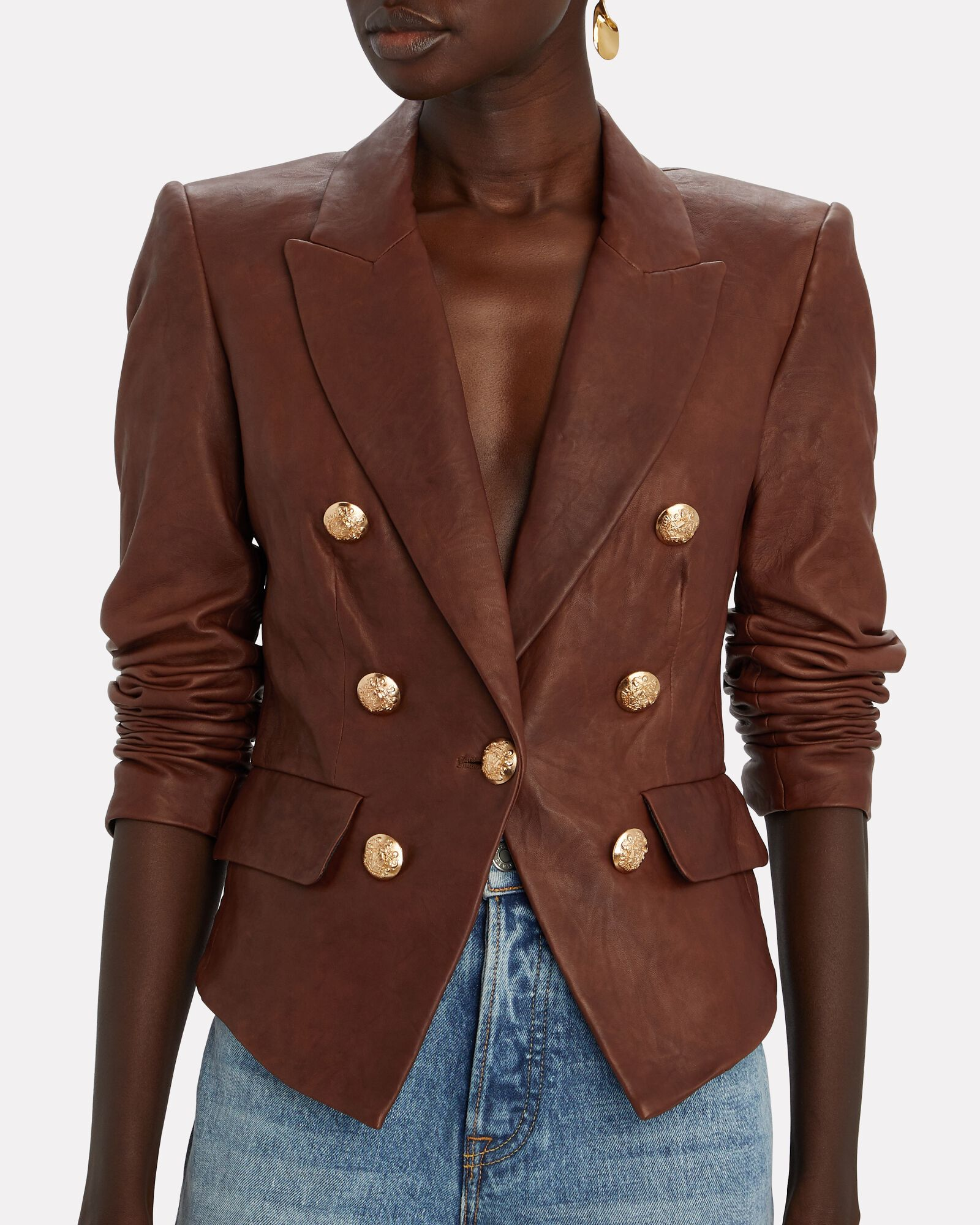 Cooke Leather Dickey Blazer, BROWN, hi-res