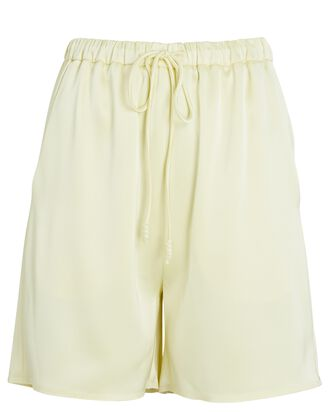 Drawstring Satin Shorts, LIGHT YELLOW, hi-res