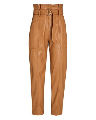 Leela Vegan Leather Paperbag Pants, BROWN, hi-res