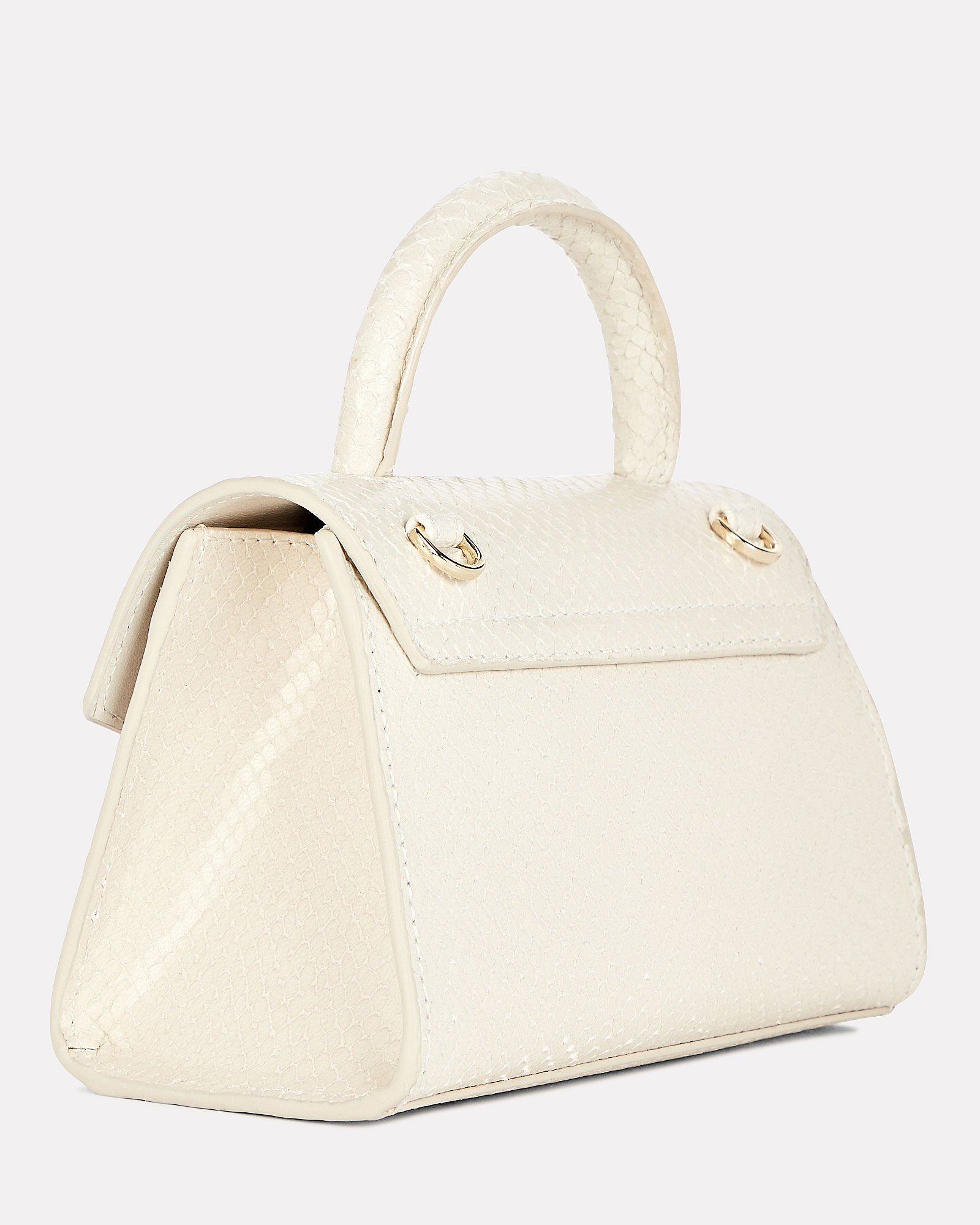 Nano Montreal Snake-Embossed Bag, WHITE, hi-res