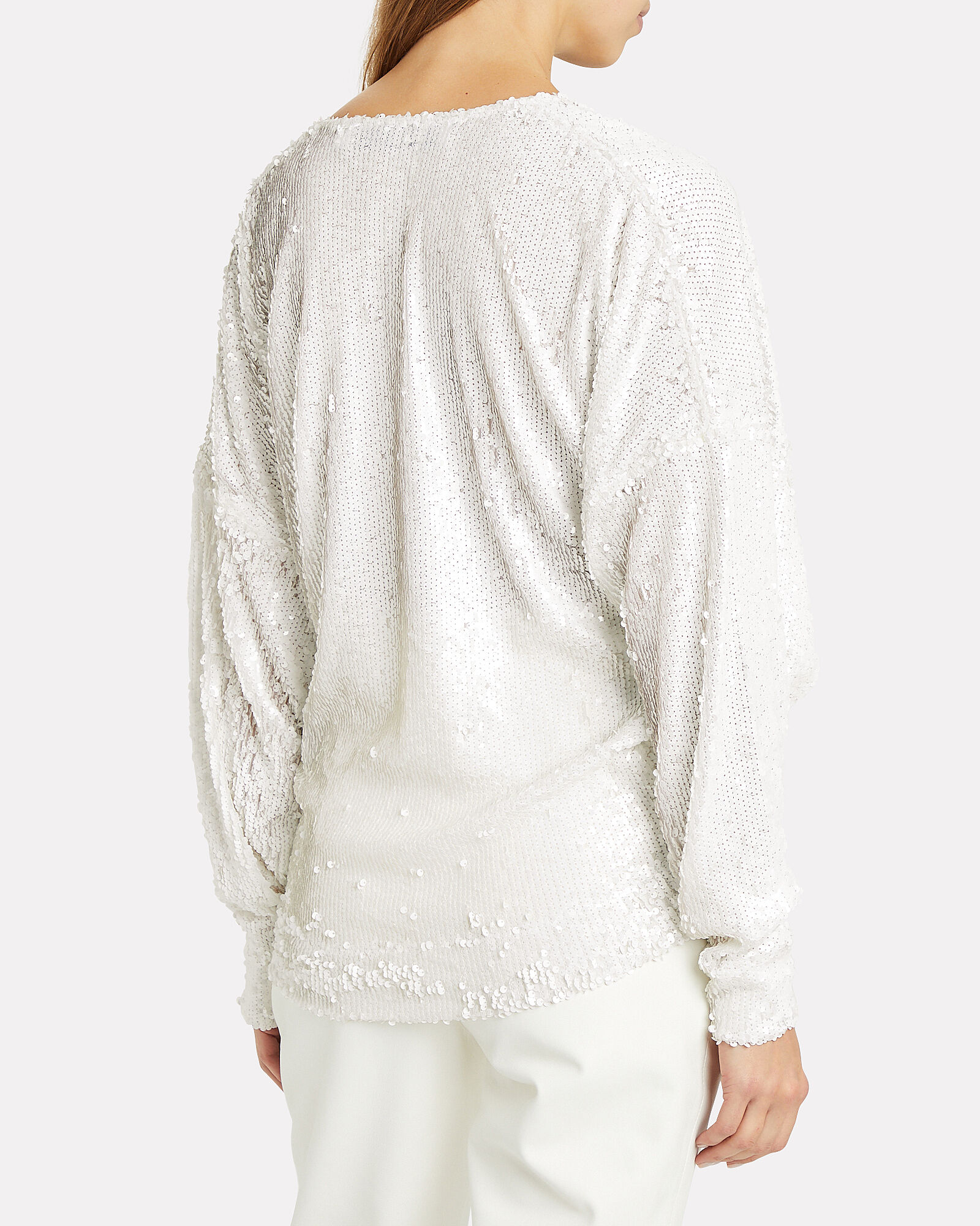 Around Sequin-Embellished Sweater, WHITE, hi-res
