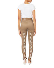 Lace-Up Stretch Leggings, BEIGE, hi-res