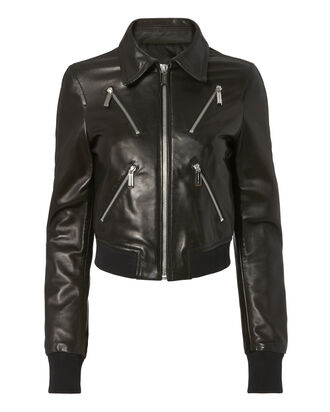 Leather Bomber Jacket, BLACK, hi-res