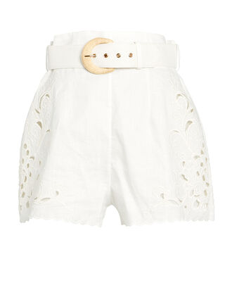 Peggy Embroidered Linen Shorts, IVORY, hi-res