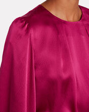 Thurlow Pleated Silk Satin Blouse, RED, hi-res