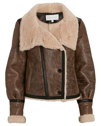 Selita Shearling Aviator Jacket, BROWN, hi-res