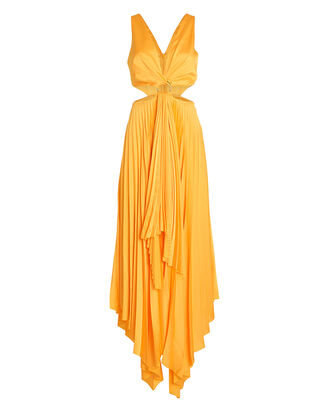 Eden Pleated Cut-Out Dress, MARIGOLD, hi-res