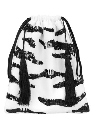 Zebra Sequin Pouch, WHITE/BLACK, hi-res