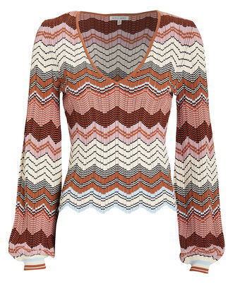 Elexis Rib Knit Chevron Sweater, GREY-LT, hi-res