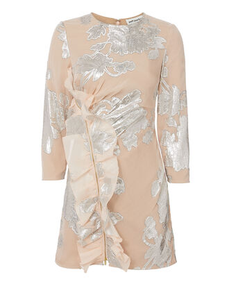 Metallic Fil Coupé  Mini Dress, NUDE, hi-res