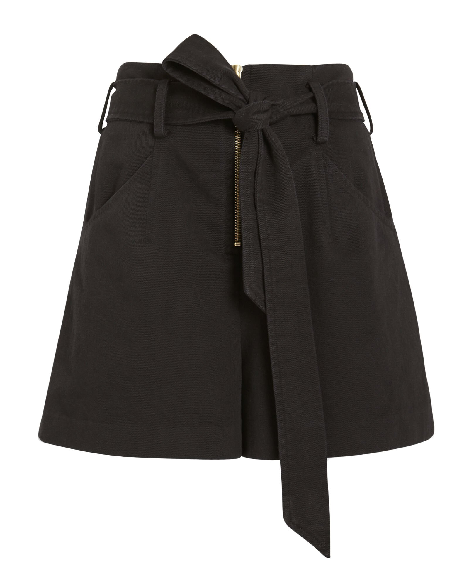 Gracie Paperbag Twill Cotton Shorts, BLACK, hi-res