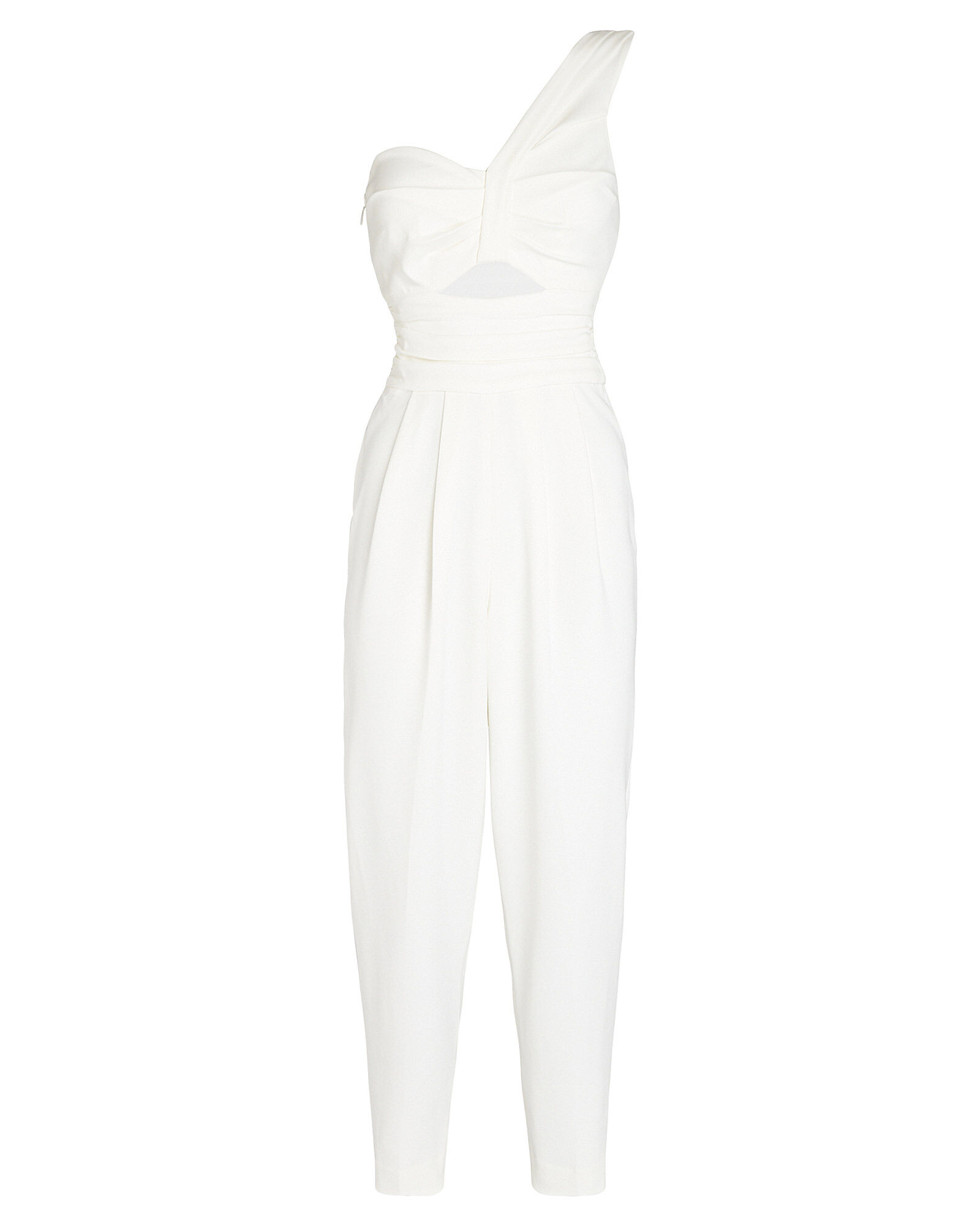 Athena Cropped One-Shoulder Jumpsuit, WHITE, hi-res
