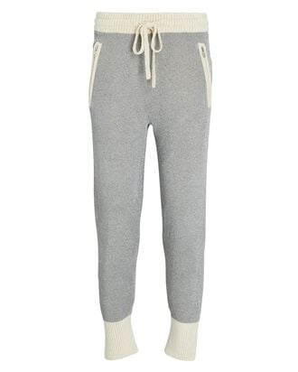 Double-Faced Lurex Knit Joggers, SILVER, hi-res