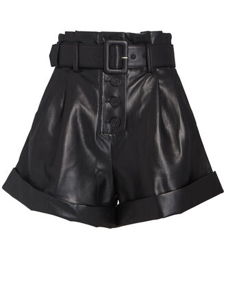 Belted Faux Leather Shorts, BLACK, hi-res