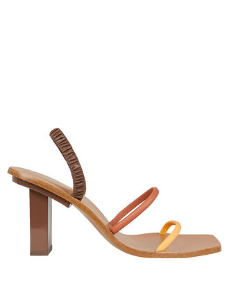 Kaia Strappy Leather Sandals, BROWN, hi-res