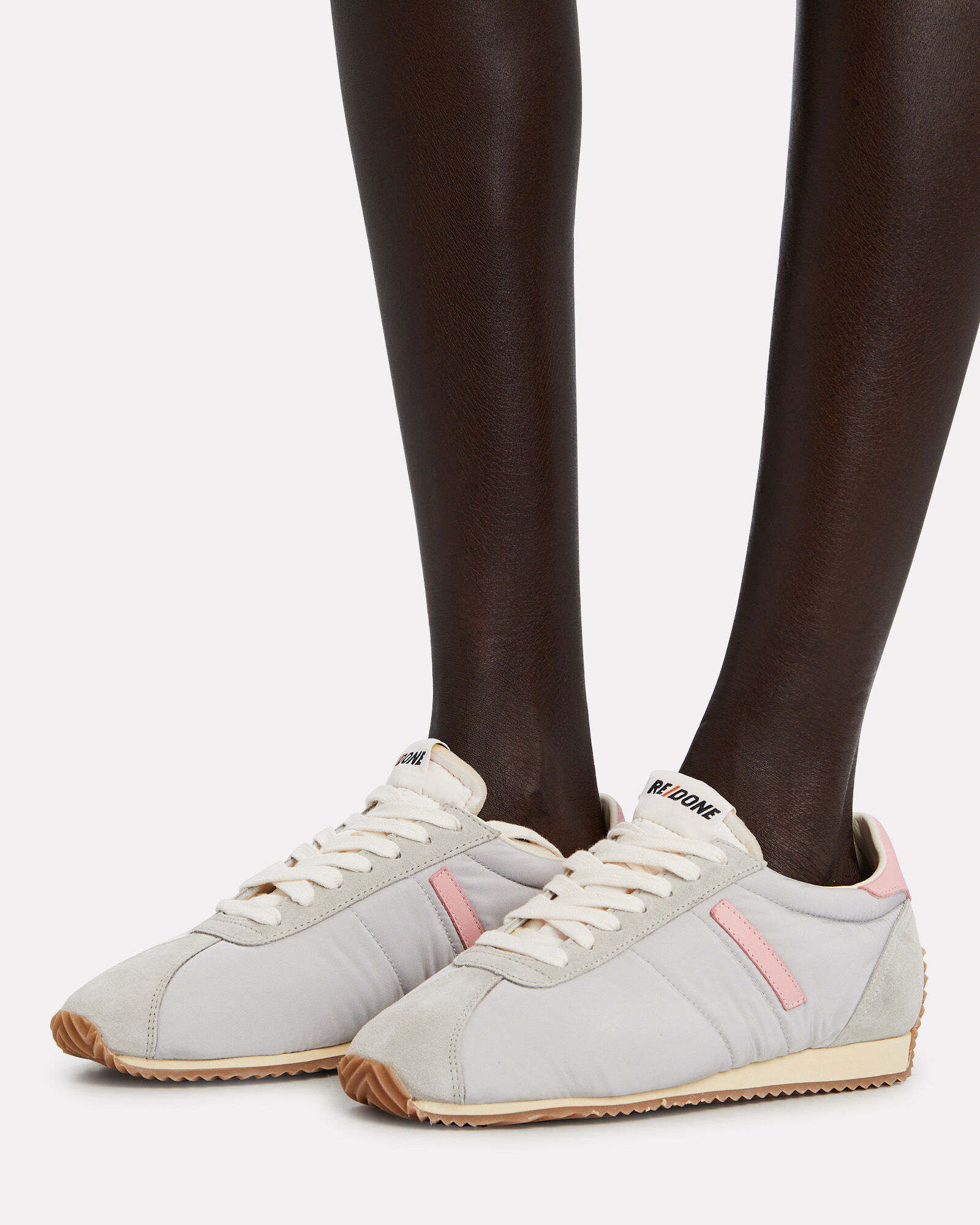 70s Leather Tennis Sneakers, LIGHT GREY/PINK, hi-res