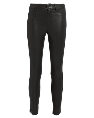 Adelaide Black Leather Pants, BLACK LEATHER, hi-res