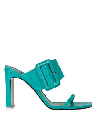 Naomi Leather Buckle Sandals, GREEN, hi-res