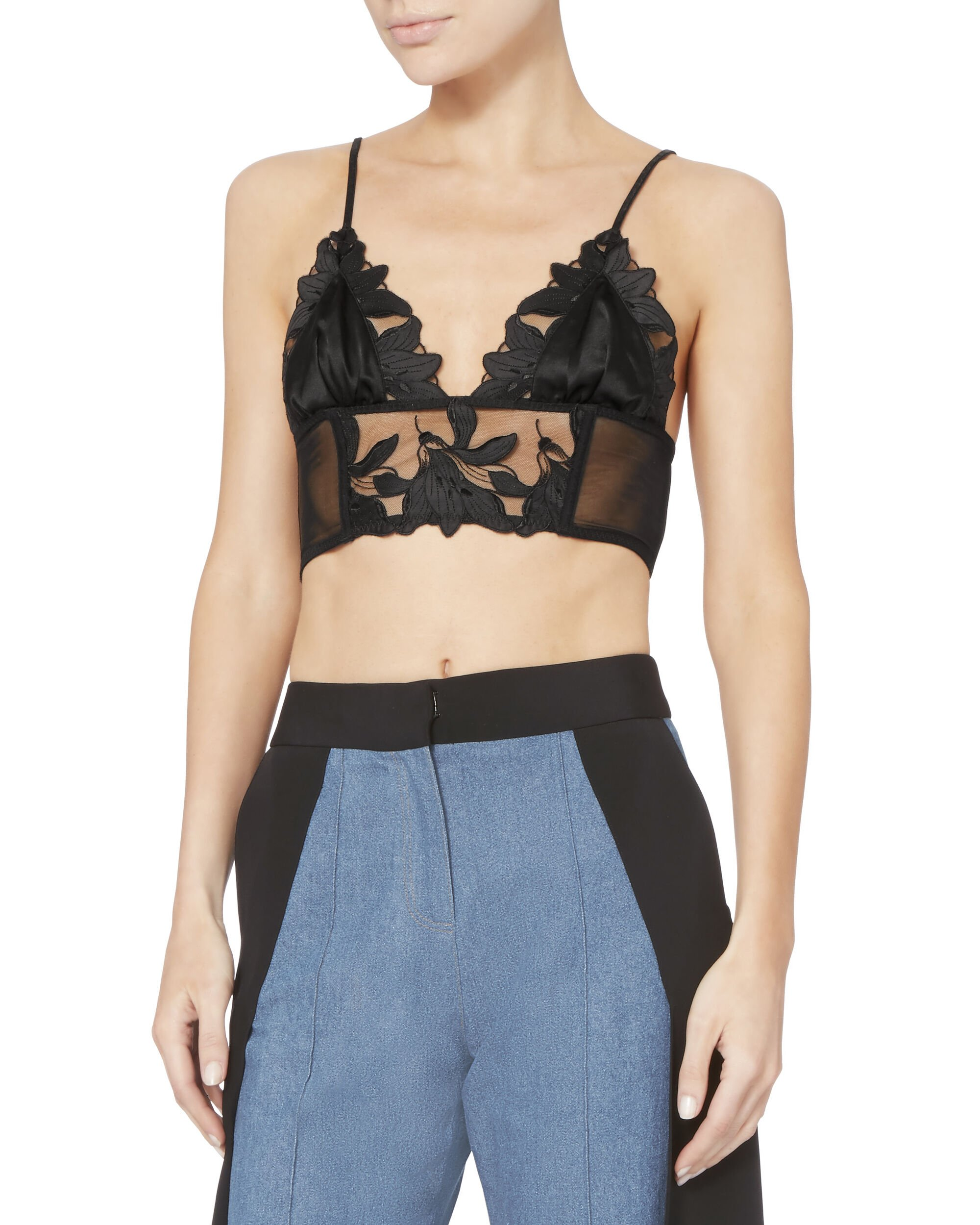 Lily Lace Long Line Bralette, BLACK, hi-res