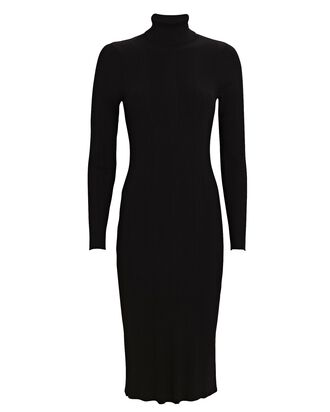 Jeanne Turtleneck Knit Midi Dress, BLACK, hi-res