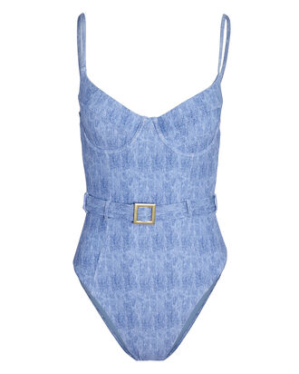 Danielle Belted One-Piece Swimsuit, LIGHT BLUE, hi-res
