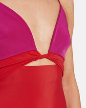 Twisted Colorblock Silk Dress, RUBY/FUCHSIA, hi-res