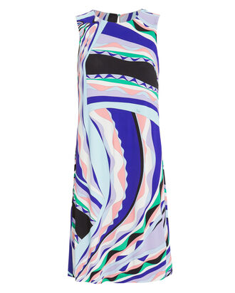 Rivera Print Shift Dress, BLUE/PURPLE, hi-res