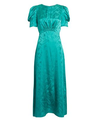 Bianca Floral Satin Midi Dress, GREEN, hi-res