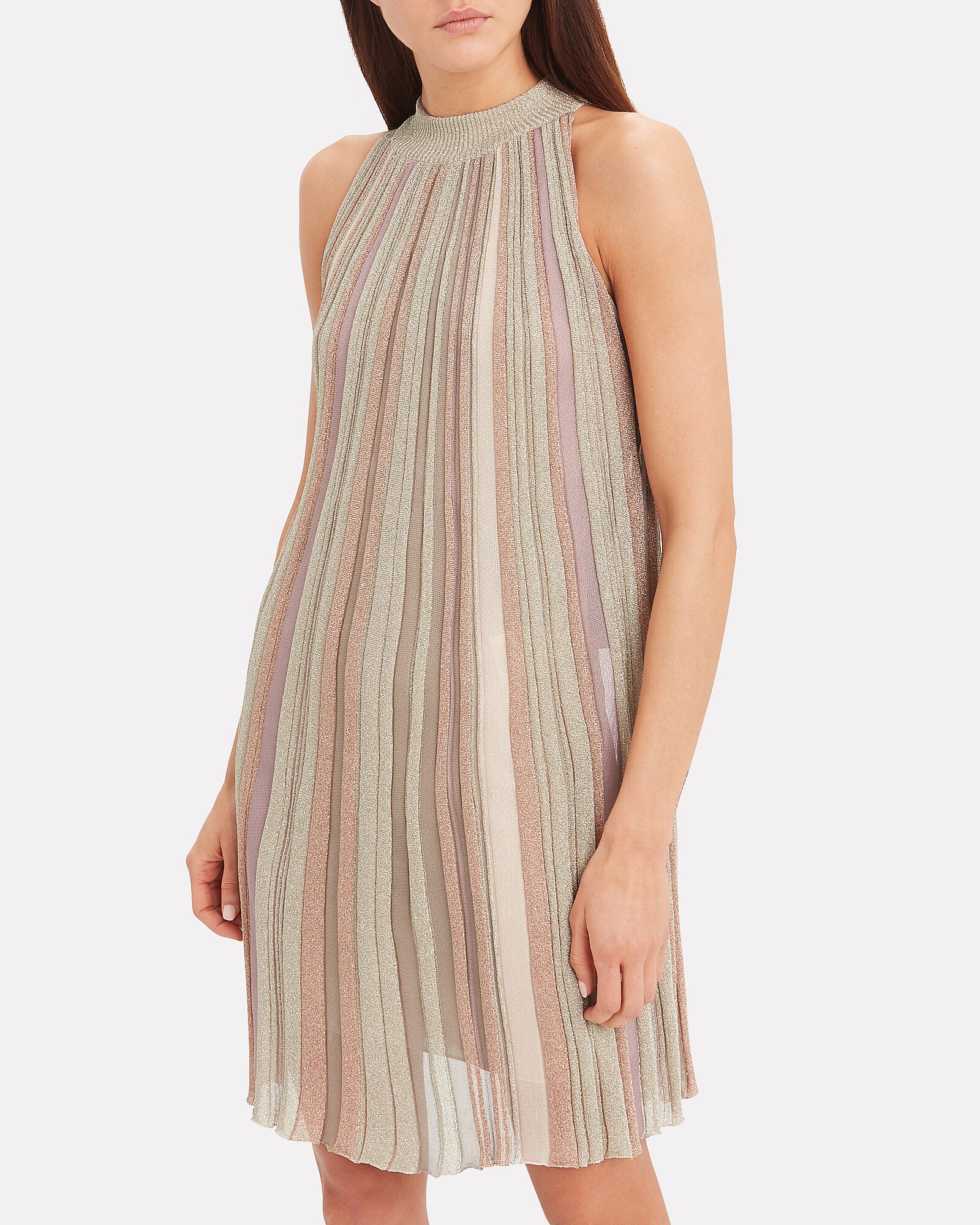 A-Line Striped Sleeveless Dress, BLUSH/METALLIC, hi-res