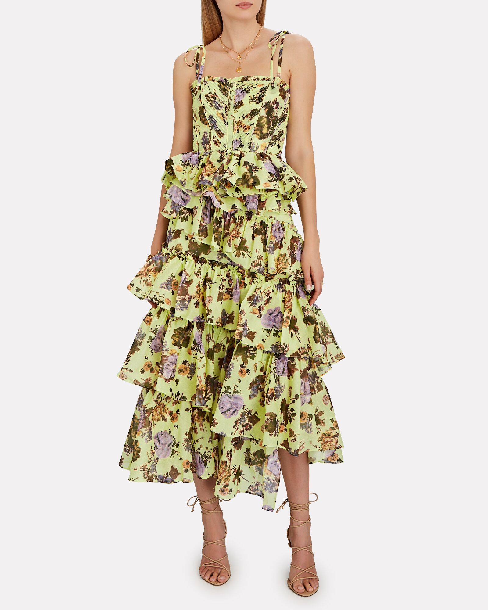 Leah Ruffled Floral Silk-Cotton Skirt, LIGHT GREEN, hi-res