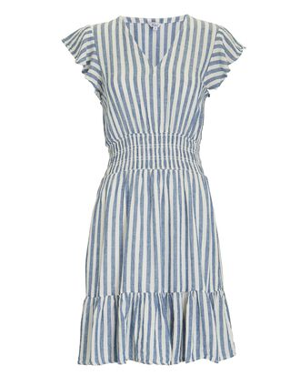 Tara Ruffled Stripe Mini Dress, BLUE/WHITE, hi-res