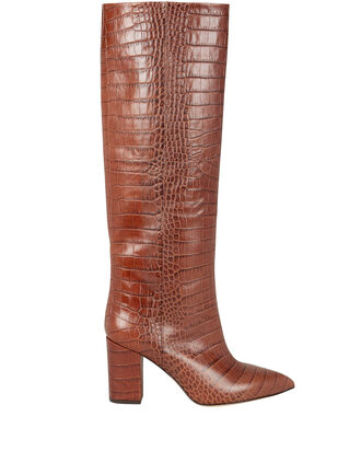 Croc-Embossed Calf Boots, BROWN, hi-res