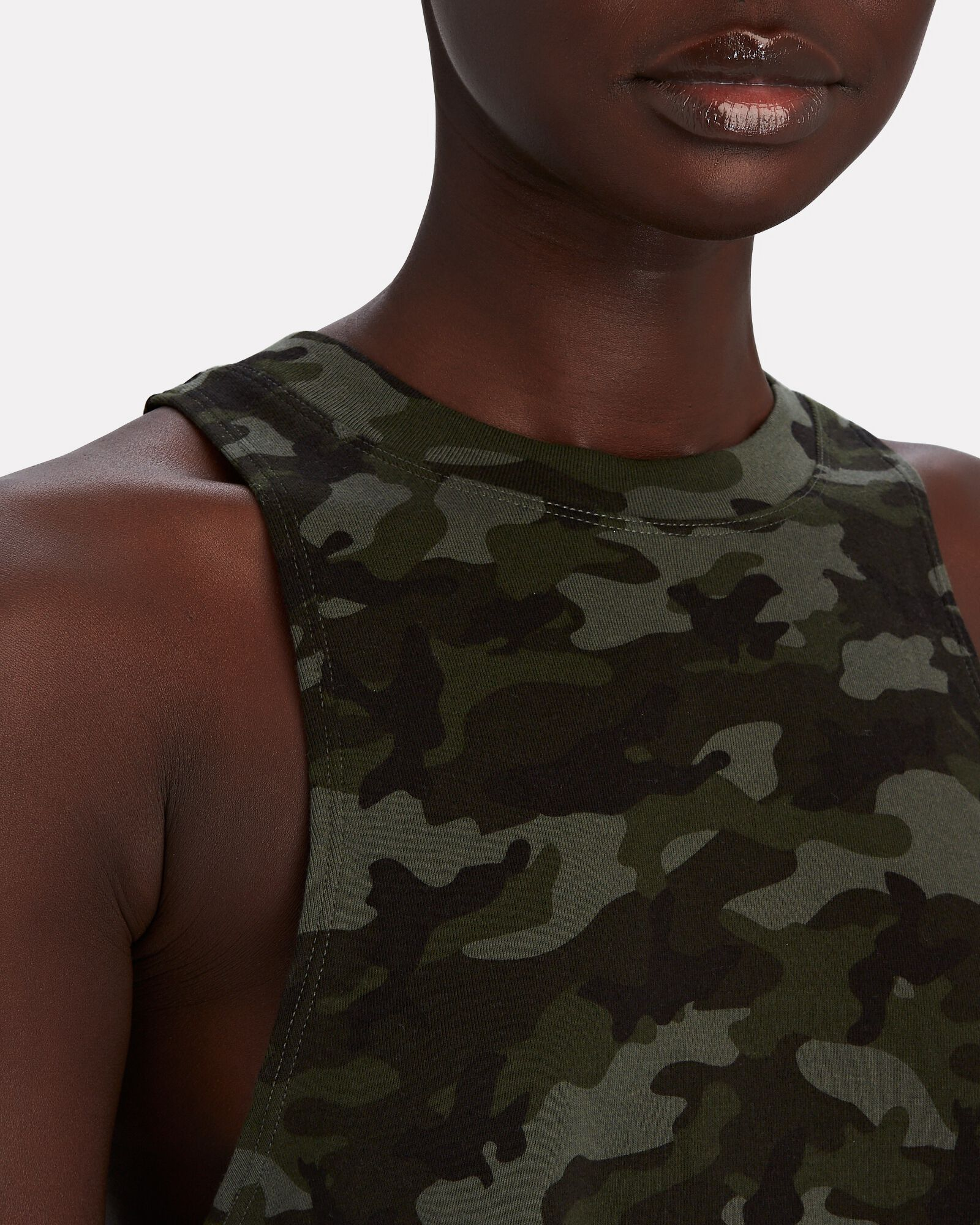 Dynamic Cropped Camouflage Tank Top, ARMY, hi-res