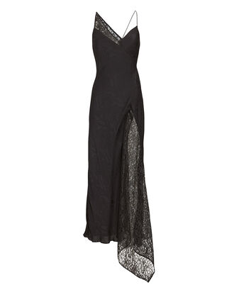 Evonne Asymmetrical Lace Slip Dress, BLACK, hi-res
