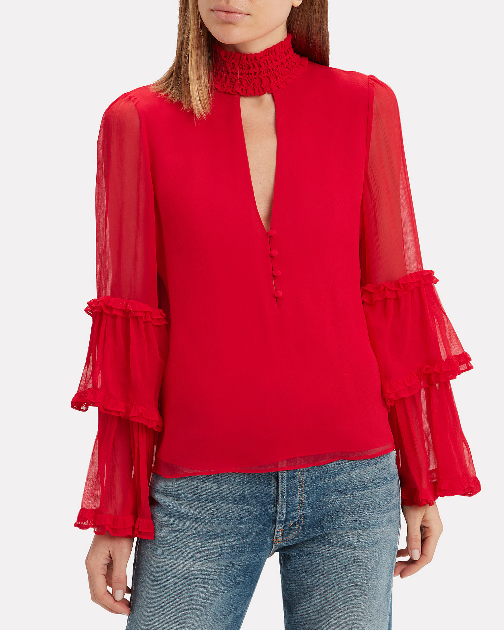Hiro Choker Neck Red Blouse, RED, hi-res