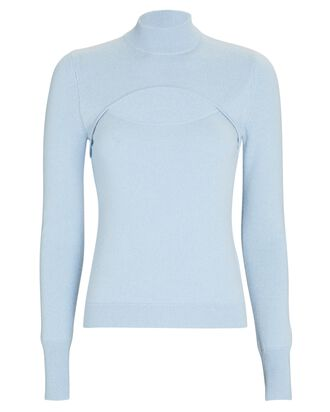 Angelou Cashmere Cut-Out Sweater, BLUE, hi-res
