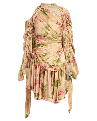 Espionage Drawn Peony Draped Dress, ECRU/PEONY PRINT, hi-res