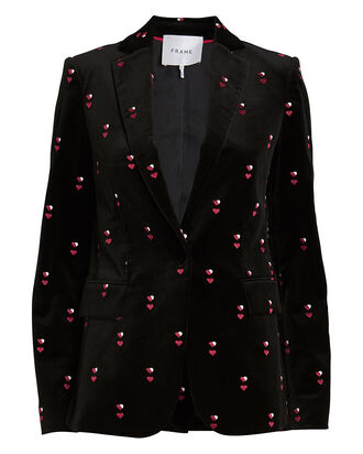 Classic Heart-Embroidered Velvet Blazer, BLACK, hi-res