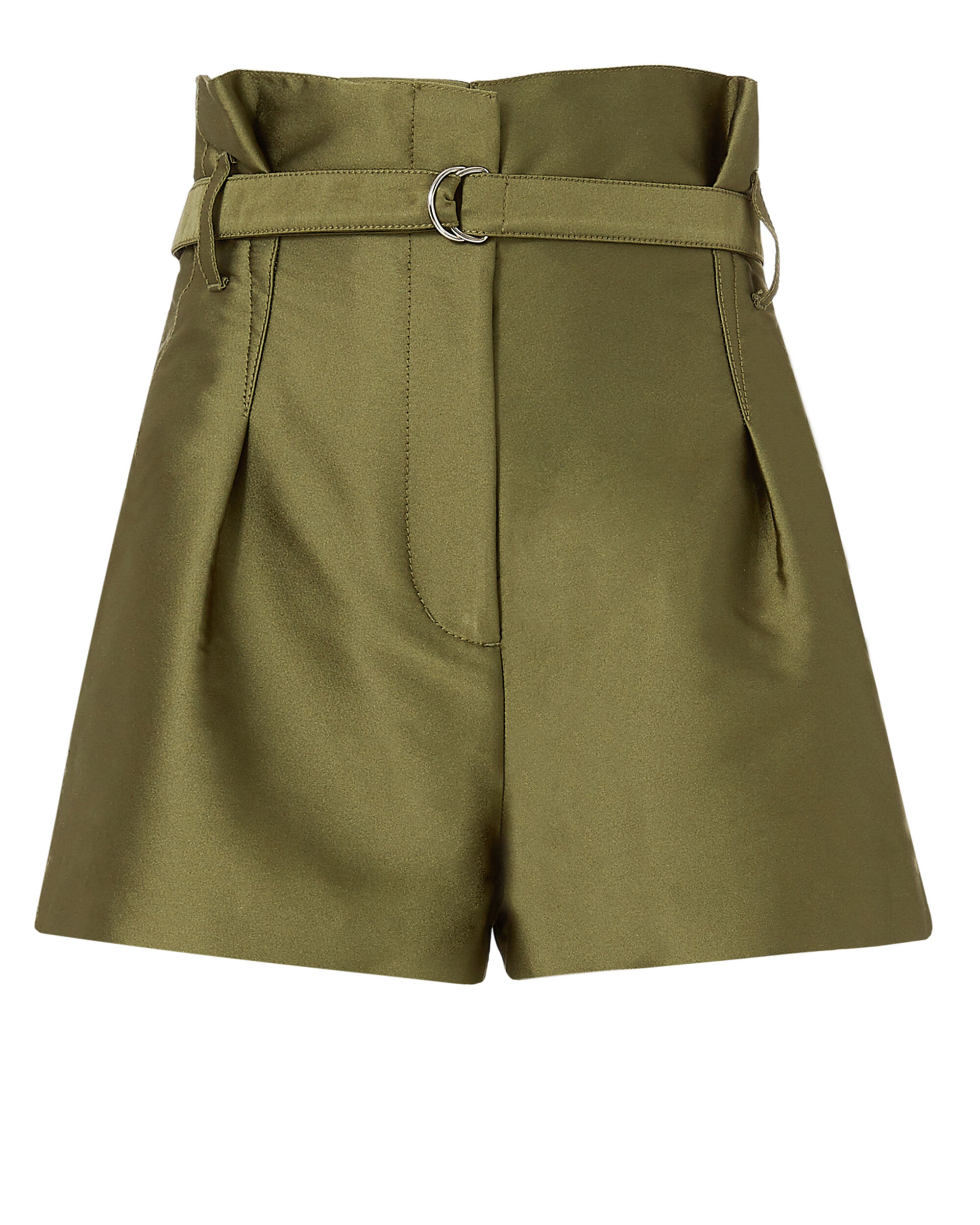 Satin Origami Shorts, GREEN, hi-res
