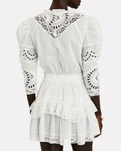 Isidore Embroidered Cotton Mini Dress, WHITE, hi-res