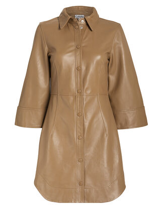 Lamb Leather Tailored Dress, BEIGE, hi-res