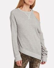 Distorted French Terry Sweatshirt, GREY, hi-res