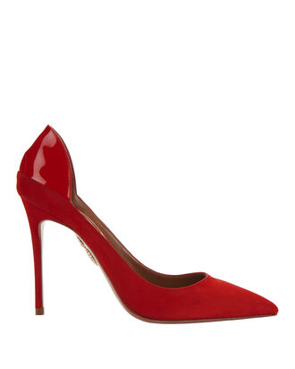 Fellini Red Suede Patent Leather Pumps, RED, hi-res